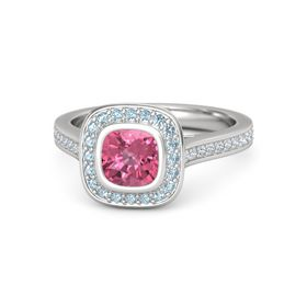 Cushion Pink Tourmaline Sterling Silver Ring with Aquamarine & Diamond