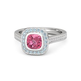 Cushion Pink Tourmaline Sterling Silver Ring with Aquamarine and White Sapphire