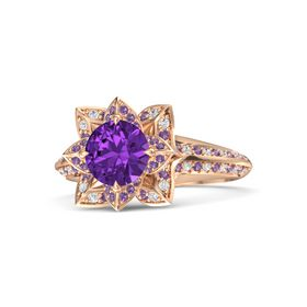 Round Amethyst 14K Rose Gold Ring with Amethyst and White Sapphire