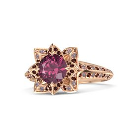 Round Rhodolite Garnet 14K Rose Gold Ring with Red Garnet and Rhodolite Garnet