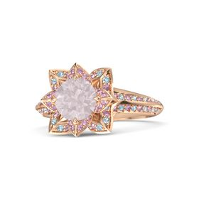 Round Rose Quartz 14K Rose Gold Ring with Pink Sapphire and Aquamarine