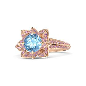 Round Blue Topaz 14K Rose Gold Ring with Pink Tourmaline