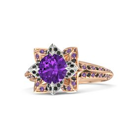 Round Amethyst 14K Rose Gold Ring with Black Diamond and Amethyst