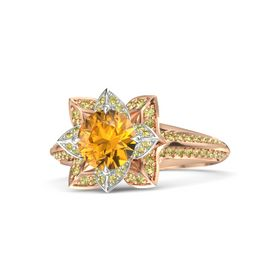 Round Citrine 14K Rose Gold Ring with Yellow Sapphire