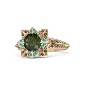 Round Green Tourmaline 14K Rose Gold Ring with Emerald and Green Tourmaline