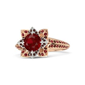 Round Ruby 14K Rose Gold Ring with Red Garnet and Ruby