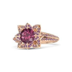 Round Rhodolite Garnet 14K Rose Gold Ring with Amethyst and Rhodolite Garnet