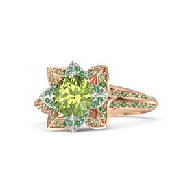 Round Peridot 14K Rose Gold Ring with Emerald and Peridot