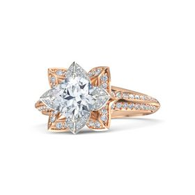 Round Moissanite 14K Rose Gold Ring with Diamond