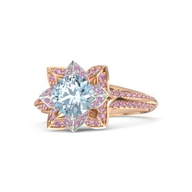 Round Aquamarine 14K Rose Gold Ring with Pink Tourmaline