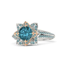 Round London Blue Topaz 14K White Gold Ring with London Blue Topaz