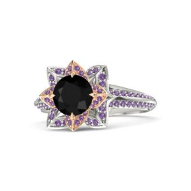 Round Black Onyx 14K White Gold Ring with Amethyst