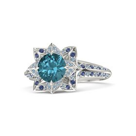 Round London Blue Topaz 14K White Gold Ring with Blue Topaz and Blue Sapphire