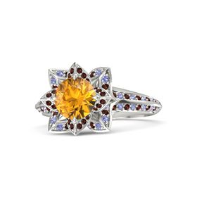 Round Citrine 14K White Gold Ring with Red Garnet and Iolite