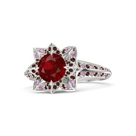 Round Ruby 14K White Gold Ring with Red Garnet and Pink Tourmaline