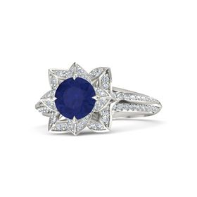 Round Blue Sapphire 14K White Gold Ring with Diamond