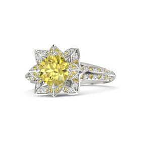 Round Yellow Sapphire 14K White Gold Ring with Yellow Sapphire and White Sapphire