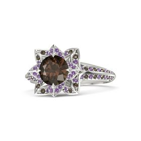 Round Smoky Quartz 14K White Gold Ring with Amethyst and Smoky Quartz