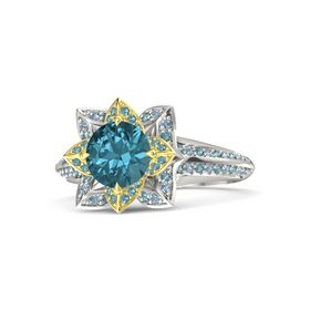 Round London Blue Topaz 14K White Gold Ring with London Blue Topaz and Blue Topaz