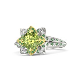 Round Peridot 14K White Gold Ring with Emerald and White Sapphire