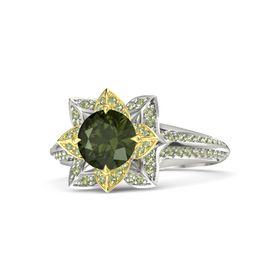 Round Green Tourmaline 14K White Gold Ring with Peridot