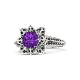 Round Amethyst 14K White Gold Ring with Black Diamond