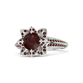 Round Red Garnet 14K White Gold Ring with Red Garnet