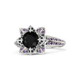 Round Black Onyx 14K White Gold Ring with Black Diamond and Amethyst