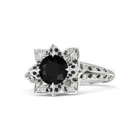 Round Black Onyx 14K White Gold Ring with Black Diamond and White Sapphire