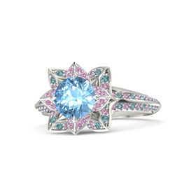 Round Blue Topaz 14K White Gold Ring with Pink Tourmaline and London Blue Topaz