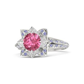 Round Pink Tourmaline 14K White Gold Ring with White Sapphire and Iolite