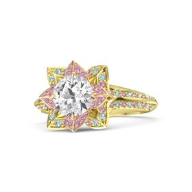 Round White Sapphire 14K Yellow Gold Ring with Pink Tourmaline and Aquamarine