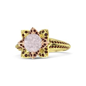 Round Rose Quartz 14K Yellow Gold Ring with Red Garnet