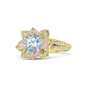 Round Aquamarine 14K Yellow Gold Ring with White Sapphire and Aquamarine