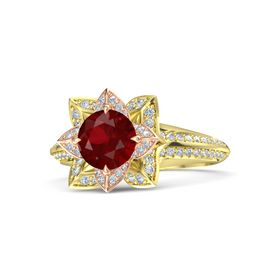Round Ruby 14K Yellow Gold Ring with Diamond