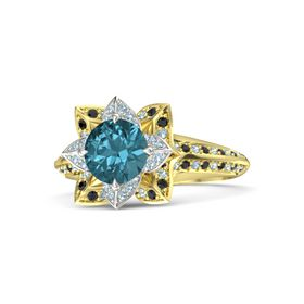Round London Blue Topaz 14K Yellow Gold Ring with Aquamarine and Black Diamond
