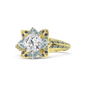 Round White Sapphire 14K Yellow Gold Ring with London Blue Topaz and Blue Sapphire
