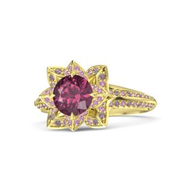 Round Rhodolite Garnet 14K Yellow Gold Ring with Pink Tourmaline and Rhodolite Garnet