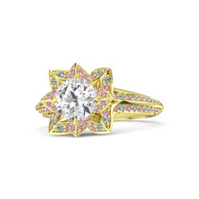 Round White Sapphire 14K Yellow Gold Ring with Pink Tourmaline and Blue Topaz