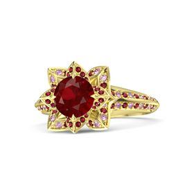 Round Ruby 14K Yellow Gold Ring with Ruby and Pink Sapphire