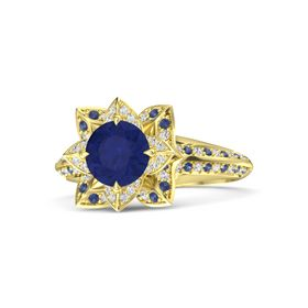 Round Blue Sapphire 14K Yellow Gold Ring with White Sapphire and Blue Sapphire
