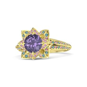 Round Iolite 14K Yellow Gold Ring with Pink Sapphire and London Blue Topaz