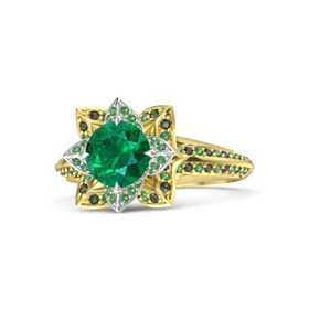 Round Emerald 14K Yellow Gold Ring with Emerald and Green Tourmaline