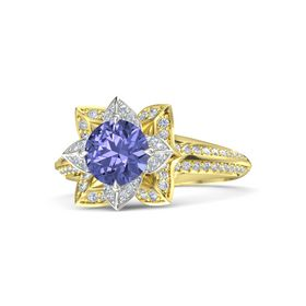 Round Tanzanite 14K Yellow Gold Ring with Diamond