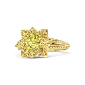 Round Yellow Sapphire 14K Yellow Gold Ring with Citrine