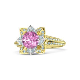 Round Pink Sapphire 14K Yellow Gold Ring with Aquamarine