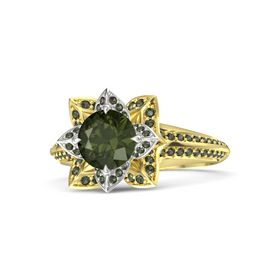 Round Green Tourmaline 14K Yellow Gold Ring with Green Tourmaline