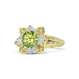 Round Peridot 14K Yellow Gold Ring with White Sapphire and Peridot