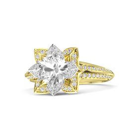Round Rock Crystal 14K Yellow Gold Ring with White Sapphire