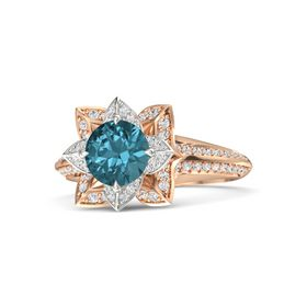 Round London Blue Topaz 18K Rose Gold Ring with White Sapphire